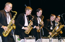 saxophones performing with kim kelly orchestra